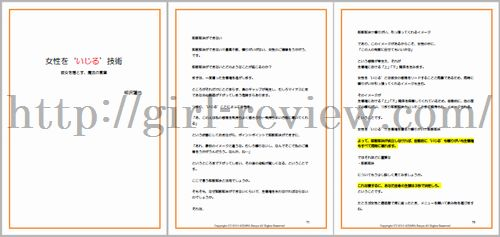 相沢蓮也さん著の恋愛系情報商材『女性をいじる技術』の教材画像