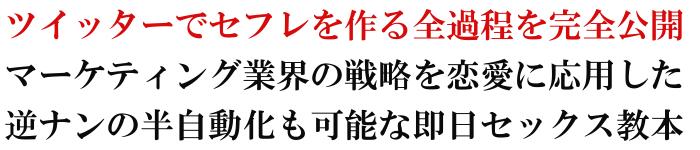 石井タカシさん著の恋愛系情報商材『ツイッターでセフレを量産する教科書』のキャッチコピー
